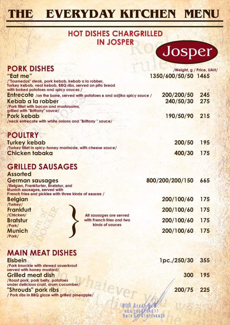 Pork dishes. Main meat dishes